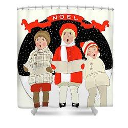 Children Caroling At Christmas Shower Curtain