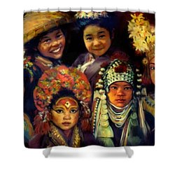 Children Of Asia Shower Curtain by Jean Hildebrant