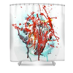 Children Of Light - Colorful Bright Read And Blue Abstract Art Painting Shower Curtain