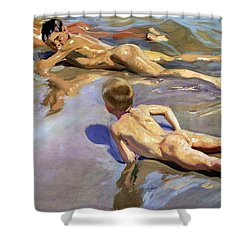 Children On The Beach Shower Curtain by Joaquin Sorolla y Bastida