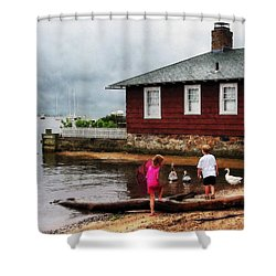 Children Playing At Harbor Essex Ct Shower Curtain by Susan Savad