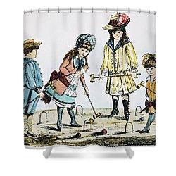 Children Playing Croquet Shower Curtain by Granger