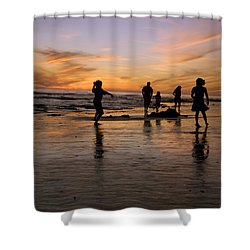 Children Playing On The Beach At Sunset Shower Curtain by James Forte