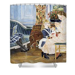 Children's Afternoon At Wargemont Shower Curtain by Pierre Auguste Renoir