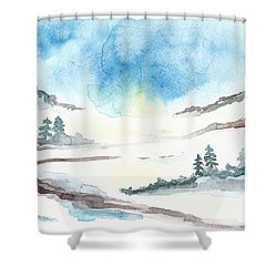 Children's Book Illustration Of Mountains Shower Curtain by Annemeet Hasidi- van der Leij