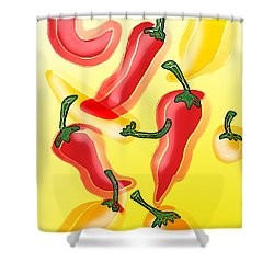 Chiles En El Sol Shower Curtain by Antonio Romero