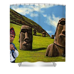 Chile Easter Island Shower Curtain by Paul Meijering