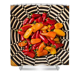 Chili Peppers In Basket  Shower Curtain by Garry Gay