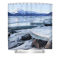 Chilkat River Ice Chunks Shower Curtain