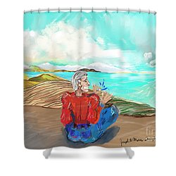 Chillin' Caricature Joe Shower Curtain