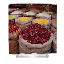 Chilliy Peppers Shower Curtain by Mini Arora
