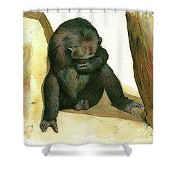 Chimp Shower Curtain by Juan Bosco