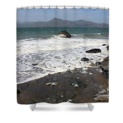 China Beach With Outgoing Wave Shower Curtain by Carol Groenen