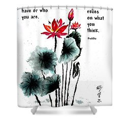 China Garden With Buddha Quote Shower Curtain