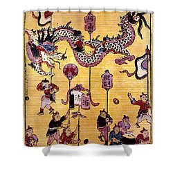 China: New Year Card Shower Curtain by Granger