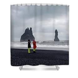 Shower Curtain featuring the photograph China's Tourists In Reynisfjara Black Sand Beach, Iceland by Dubi Roman