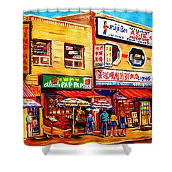 Chinatown Markets Shower Curtain by Carole Spandau