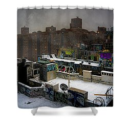 Shower Curtain featuring the photograph Chinatown Rooftops In Winter by Chris Lord