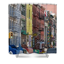 Chinatown Walk Ups Shower Curtain by Rob Hans