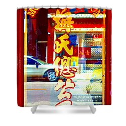 Shower Curtain featuring the photograph Chinatown Window Reflection 1 by Marianne Dow