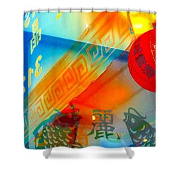 Shower Curtain featuring the photograph Chinatown Window Reflection 3 by Marianne Dow