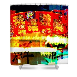 Shower Curtain featuring the photograph Chinatown Window Reflection 4 by Marianne Dow
