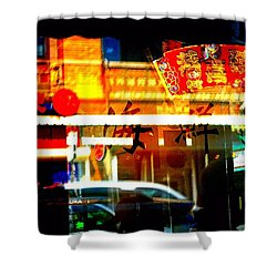 Shower Curtain featuring the photograph Chinatown Window Reflections 2 by Marianne Dow