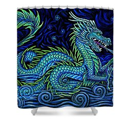 Chinese Azure Dragon Shower Curtain by Rebecca Wang
