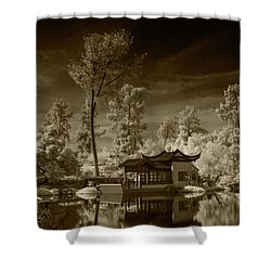 Shower Curtain featuring the photograph Chinese Botanical Garden In California With Koi Fish In Sepia Tone by Randall Nyhof