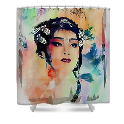 Chinese Cultural Girl - Digital Watercolor  Shower Curtain