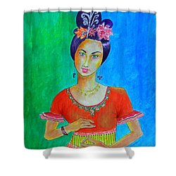 Chinese Dancer -- The Original -- Portrait Of Asian Woman Shower Curtain