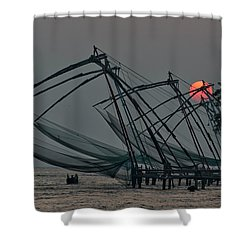 Chinese Fishing Nets, Cochin Shower Curtain by Marion Galt