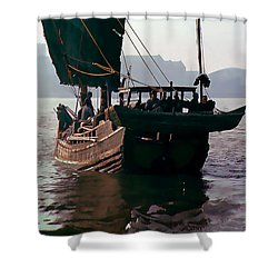 Chinese Junk Afloat In Shanghai Shower Curtain