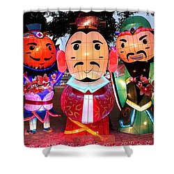 Shower Curtain featuring the photograph Chinese Lanterns In The Shape Of Three Wise Men by Yali Shi