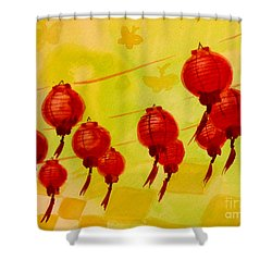 Shower Curtain featuring the painting Chinese Lanterns by Maria Langgle