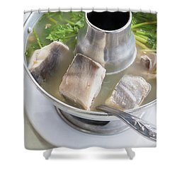 Shower Curtain featuring the photograph Chinese Silver Pomfret Soup by Atiketta Sangasaeng