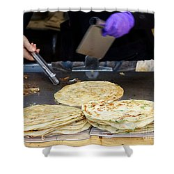 Shower Curtain featuring the photograph Chinese Street Vendor Cooks Onion Pancakes by Yali Shi