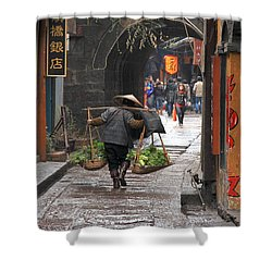 Chinese Woman Carrying Vegetables Shower Curtain