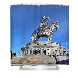 Chinggis Khan Statue/tsagaan Sar Shower Curtain by Diane Height