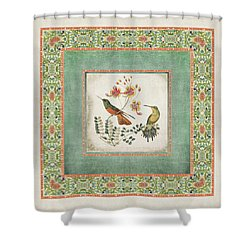 Chinoiserie Vintage Hummingbirds N Flowers 1 Shower Curtain