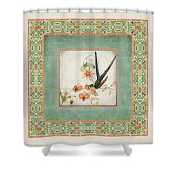 Chinoiserie Vintage Hummingbirds N Flowers 3 Shower Curtain
