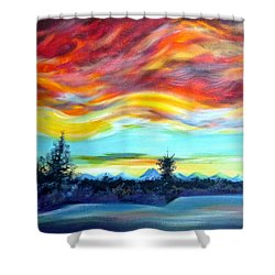 Shower Curtain featuring the painting Chinook Arch Over Bow River by Anna  Duyunova