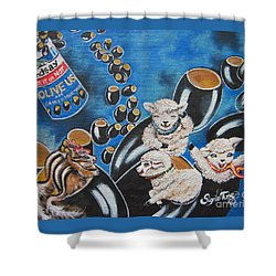 Chip And Dip In Space Olives Shower Curtain