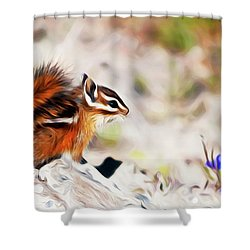 Shower Curtain featuring the digital art Chipper by Timothy Hack