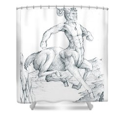 Shower Curtain featuring the drawing Chiron The Centaur by Curtiss Shaffer