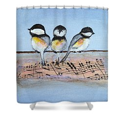 Chirpy Chickadees Shower Curtain by Roxy Rich