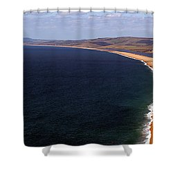 Chesill Beach Dorset Shower Curtain by Baggieoldboy