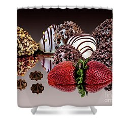 Chocolate And Strawberries Shower Curtain by Shirley Mangini