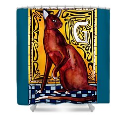 Chocolate Delight - Havana Brown Cat - Cat Art By Dora Hathazi Mendes Shower Curtain