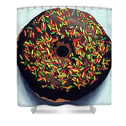 Shower Curtain featuring the painting Chocolate Donut And Sprinkles Large Painting by Linda Apple